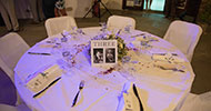 Decoration of the tables at the reception