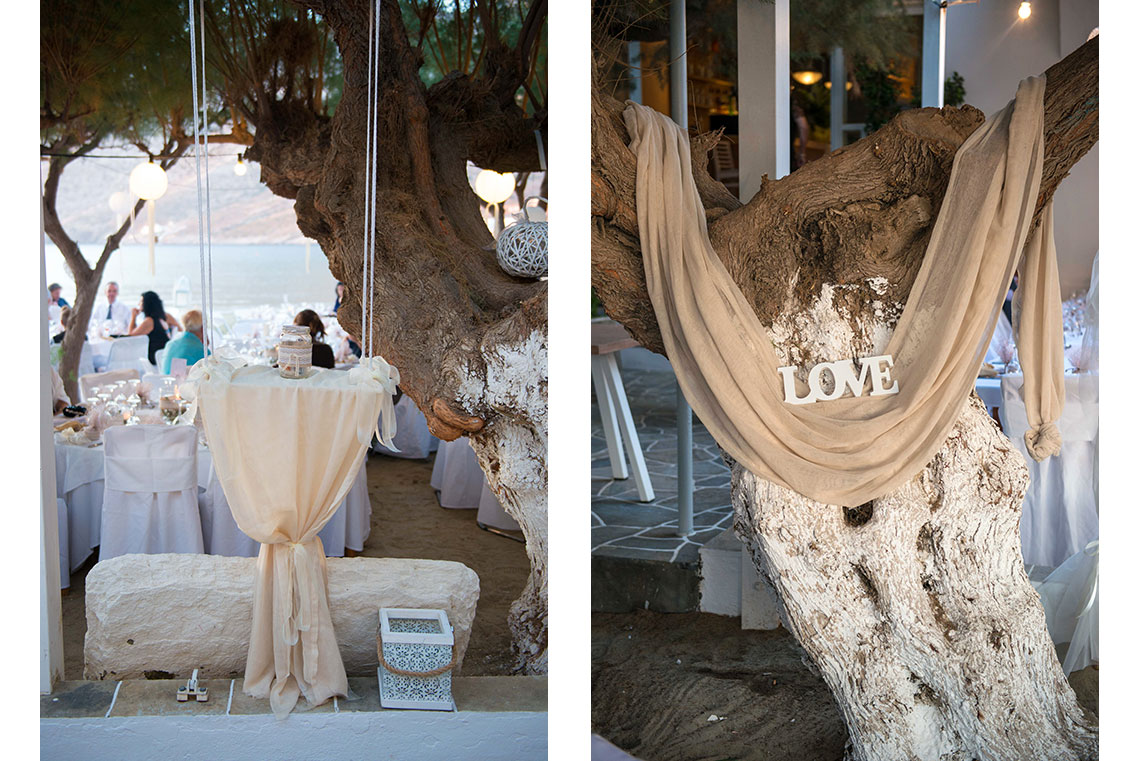 Decorative touches at the reception place