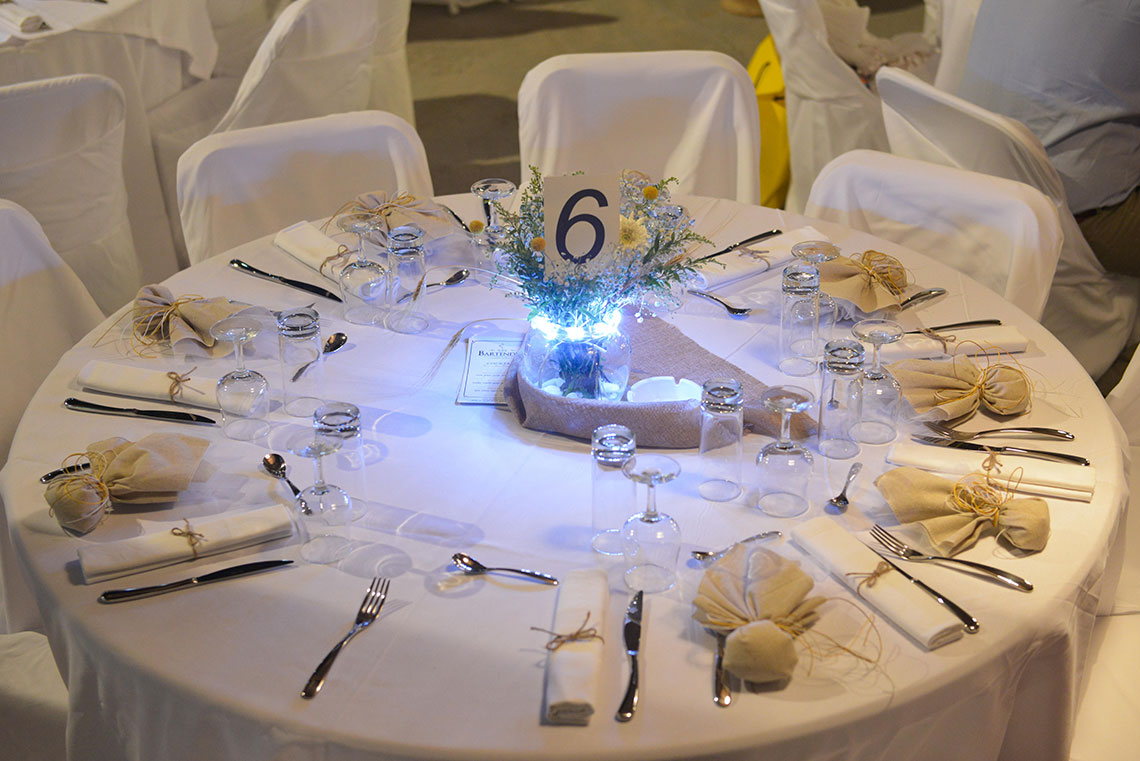 Decoration of a table with beige colors